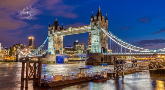 The illuminated Tower Bridge in London, UK