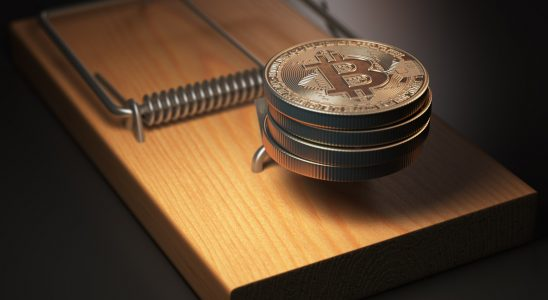 Bitcoin BTC coins in the mousetrap. Financial invetsment risk co